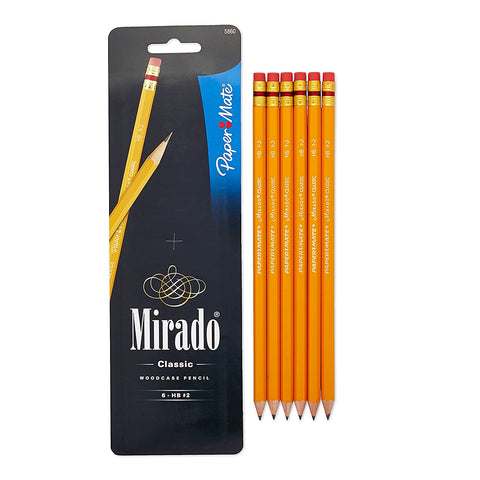Paper Mate Mirado wooden Pencil, Classic Pencil, HB, 6-Carded (5860)