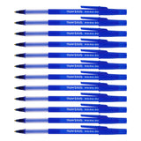 Paper Mate Write Bros Grip Stick Ball Point Pens, 0.8mm, Fine Point, Blue Ink, Pack of 12