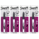 Sharpie Rub-a-Dub Permanent Marker, Fine Point, Black Ink, 4-Count