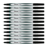 Sharpie Plastic Point Stick Pen, Fine Point, Green Ink, Pack of 12