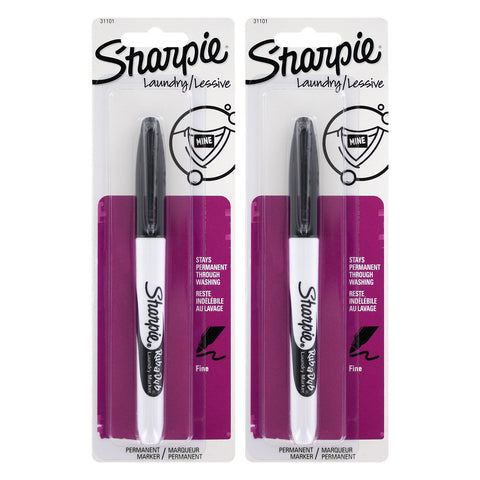 Sharpie Rub-a-Dub Permanent Marker, Fine Point, Black Ink, 2-Count
