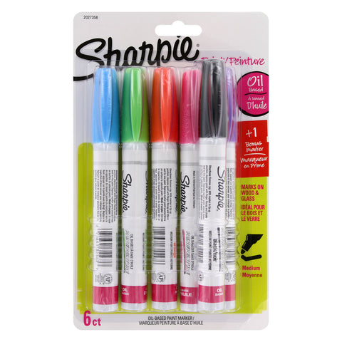 Sharpie Oil-Based Paint Markers, Medium Point, Assorted Fashion Colors, Set of 5 Plus Bonus