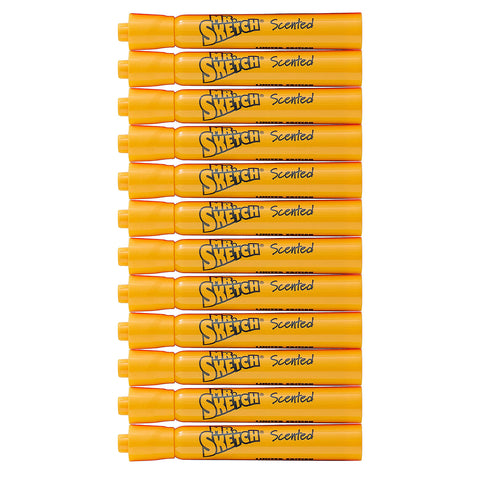 Mr. Sketch Scented Watercolor Movie Night Marker, Chisel Tip, Nacho Cheese, Orange, 12-Count