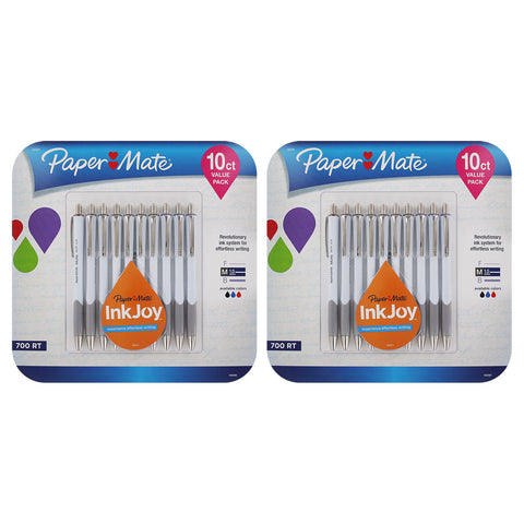 Paper Mate InkJoy 700RT Retractable Ball Point Pen, 1.0mm, Medium Point, Assorted Colors, Pack of 20