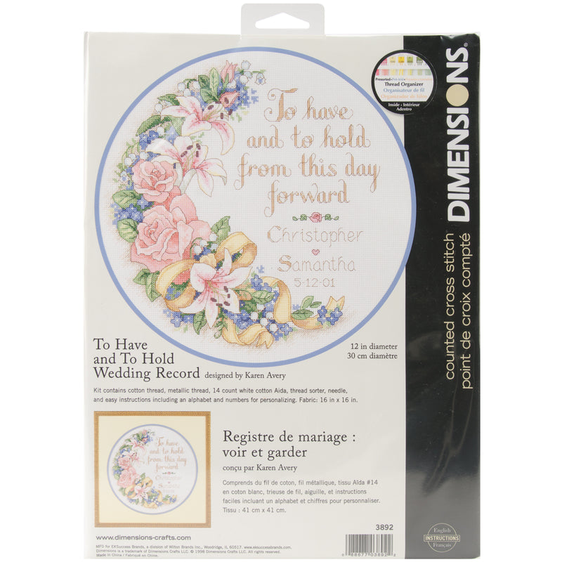 "Dimensions Counted Cross Stitch Kit 12"" Round-To Have & To Hold Record (14 Count) - Pens N More"