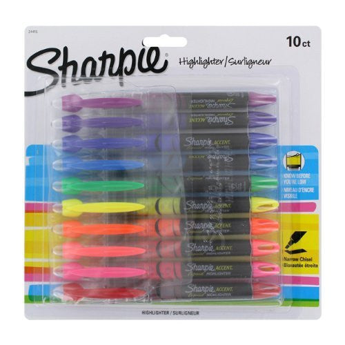 Sharpie Accent Liquid Pen Style Highlighter, Chisel Tip, Assorted, Pack of 10