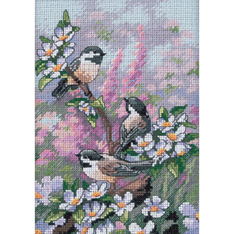 "Dimensions Gold Petite Counted Cross Stitch Kit 5""X7""-Chickadees In Spring (16 Count) - Pens N More"