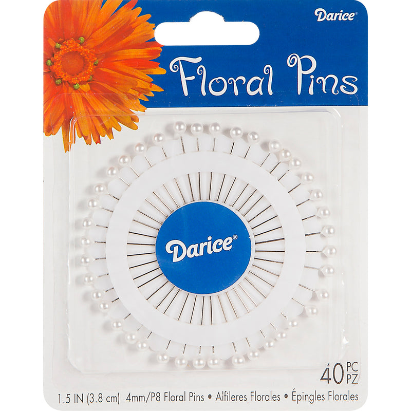 "Corsage Pins 1.5"" 40/Pkg-Pearl White"
