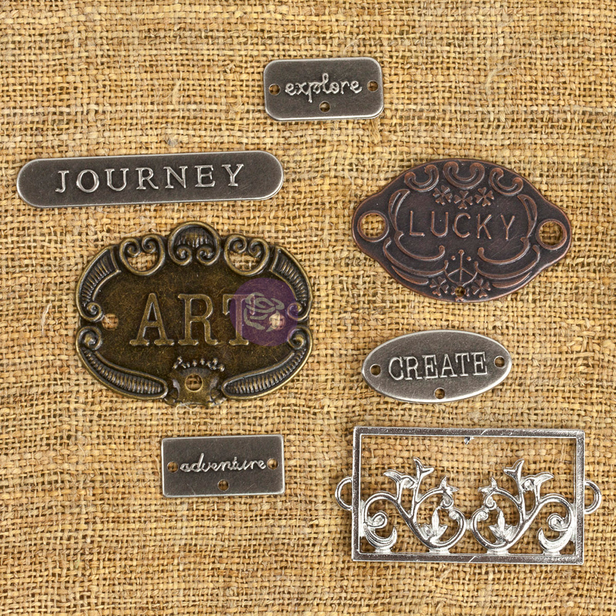 Prima Marketing Mechanicals Metal Embellishments-Plate & Label 7/Pkg