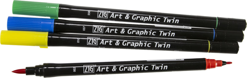 ZIG Art & Graphic Twin Tip Markers 4/Pkg-Core - Pens N More