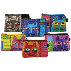 "Laurel Burch Cosmetic Bag Zipper Top Assortment 9.25""X6.75""-Whiskered Cats"