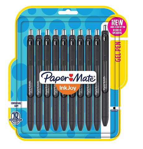 Paper Mate InkJoy Retractable Gel Pens, 0.7mm, Medium Point, Black Ink, 10-Count