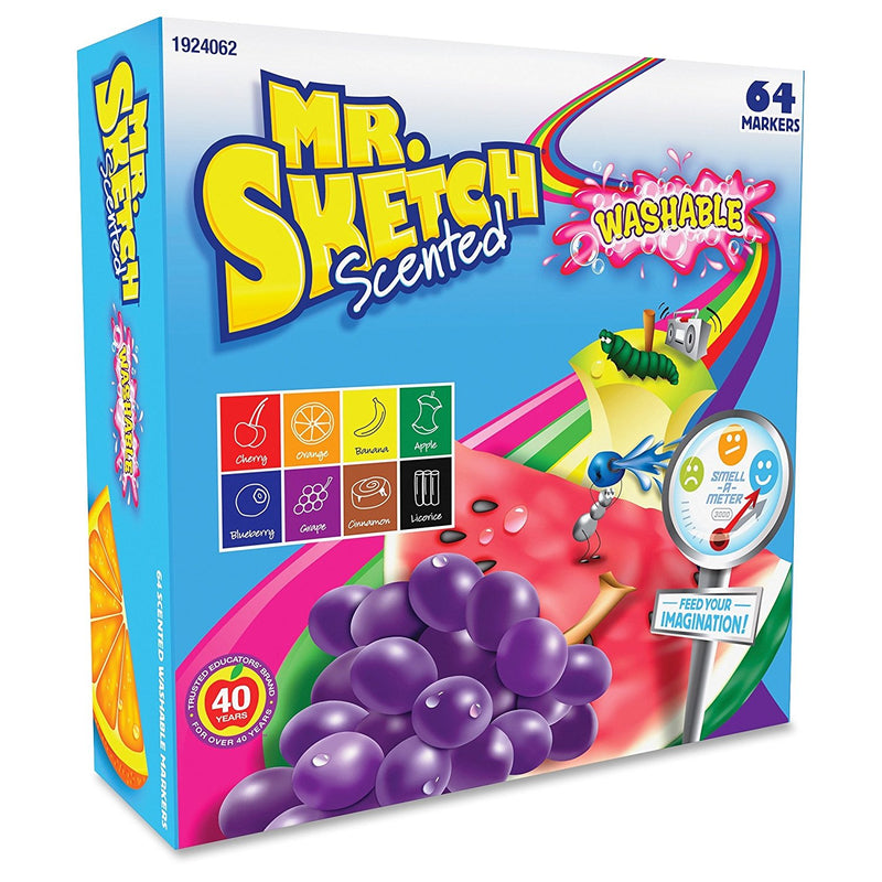 Mr. Sketch Scented Washable Markers, Chisel Tip, Assorted Colors, 64-Count