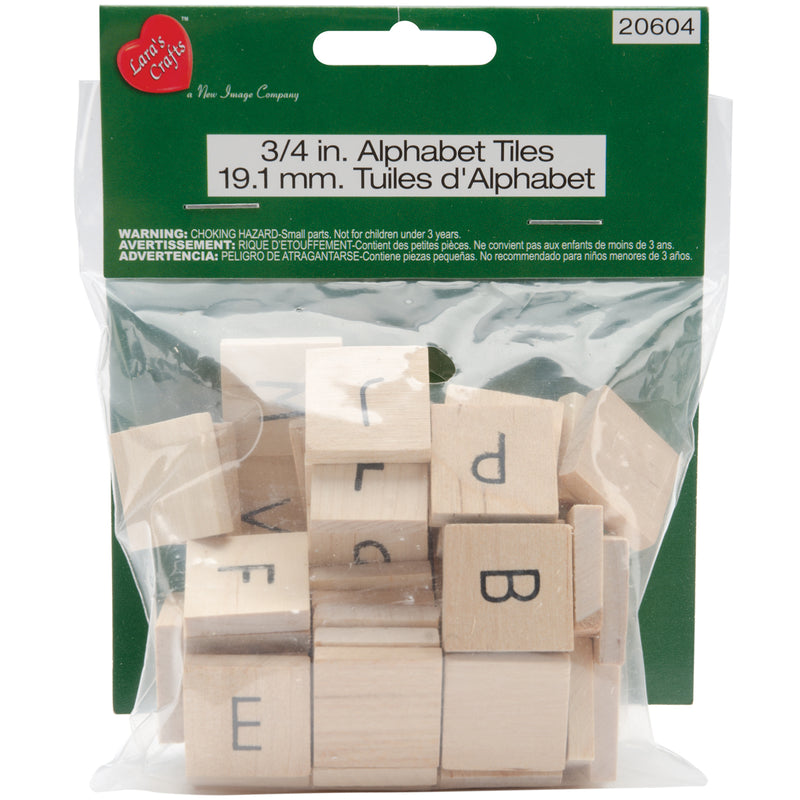 "Wood Alphabet Tiles .75"" 60/Pkg-Uppercase - Pens N More"