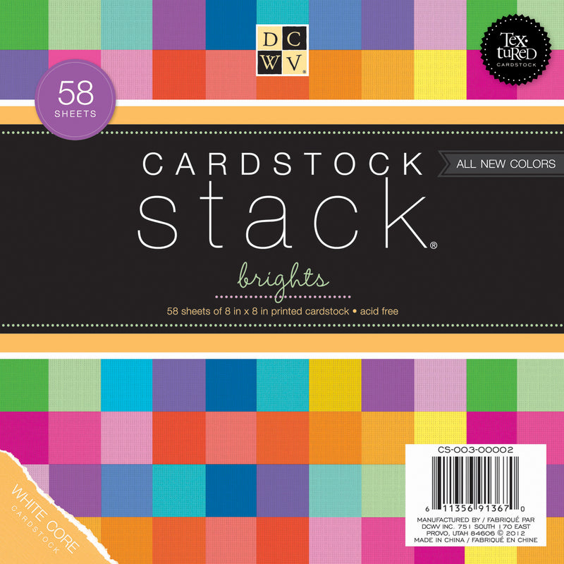 "DCWV Double-Sided Cardstock Stack 8""X8"" 58/Pkg-Brights White Core, 29 Solid Colors/2ea - Pens N More"
