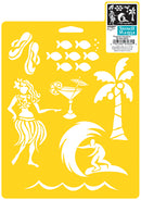 "Stencil Mania Stencil 7""X10""-Tropical Vacation"