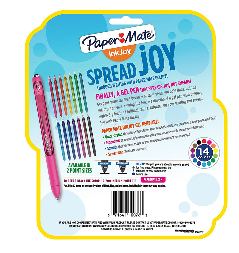 Paper Mate InkJoy Retractable Gel Pens, 0.7mm, Medium Point, Black Ink, 40-Count