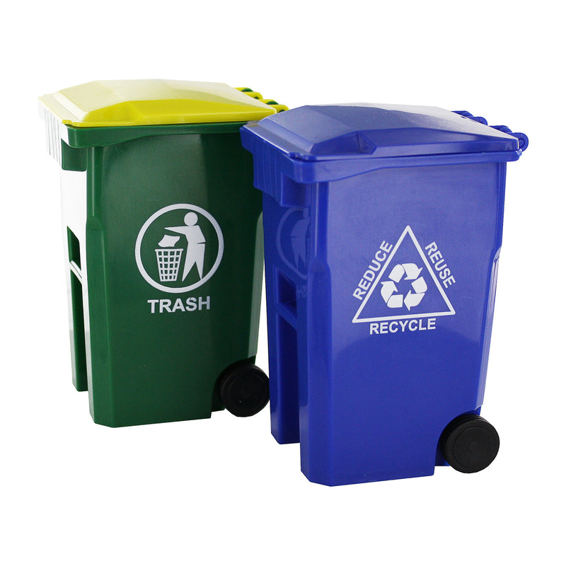Thornton's Office Supplies Mini Curbside Trash and Recycle Can Set Pencil Cup Holder - Pens N More