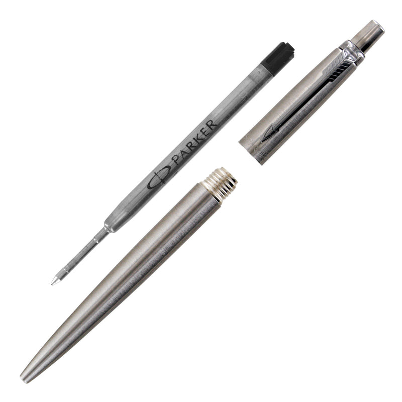 Parker Jotter Stainless Steel Retractable Ball Point Pen, 1.0mm, Black Ink, Medium Point (Gift Box) - Pens N More