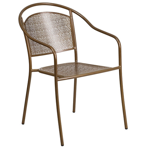 Flash Furniture Indoor-Outdoor Steel Patio Arm Chair with Round Back - Gold
