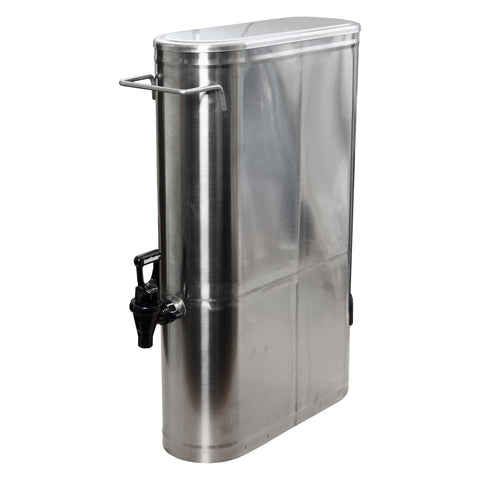 Low Profile 3.5 Gallon Stainless Steel Iced Tea Coffee Lemonade Beverage Dispenser with Spigot