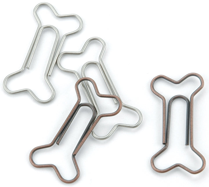 "Metal Dog Bone Paper Clips 1.125""X.5"" 15/Pkg-Pewter & Antique Copper - Pens N More"