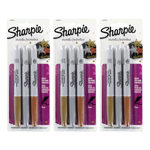 Sharpie Metallic Permanent Markers, Fine Point, Assorted Metallic, 9 Count