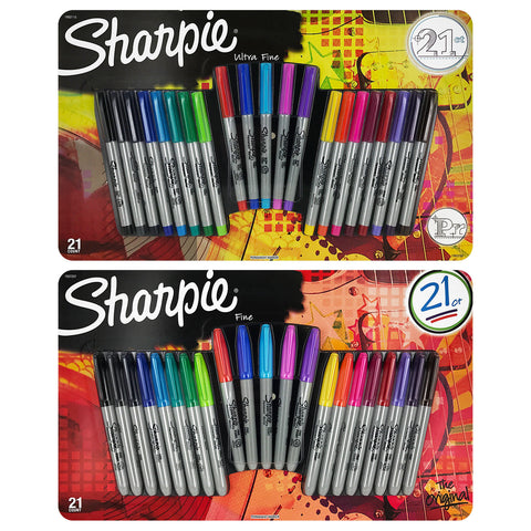 Sharpie Permanent Markers, Ultra Fine and Fine Point, Assorted Colors, Set of 42