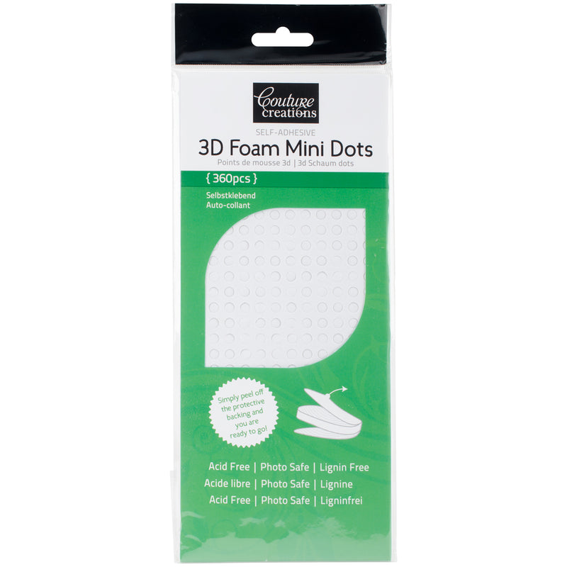 Couture Creations 3D Foam Mini Dots 360/Pkg-White - Pens N More