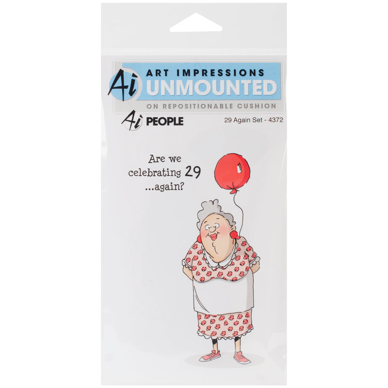 Art Impressions People Cling Rubber Stamps-29 Again