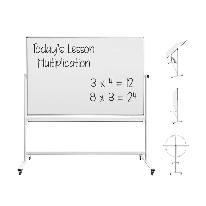 "Thornton's Office Supplies Magnetic Reversible Mobile Dry Erase Whiteboard Easel, 70 4/5w x 47 1/5h, 80""h, White/Silver - Pens N More"