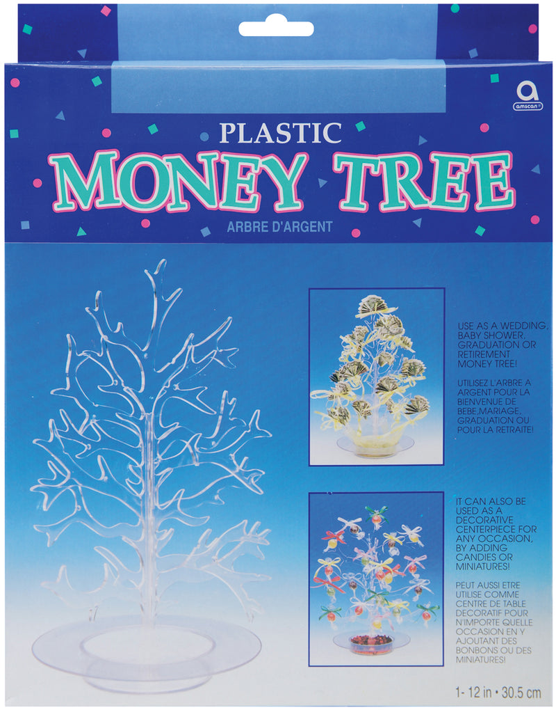 "Plastic Money Tree 12""-Clear Plastic"