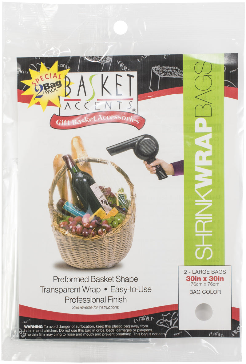 "Basket Accents Shrink Wrap Bags Large 30""X30"" 2/Pkg-Clear"