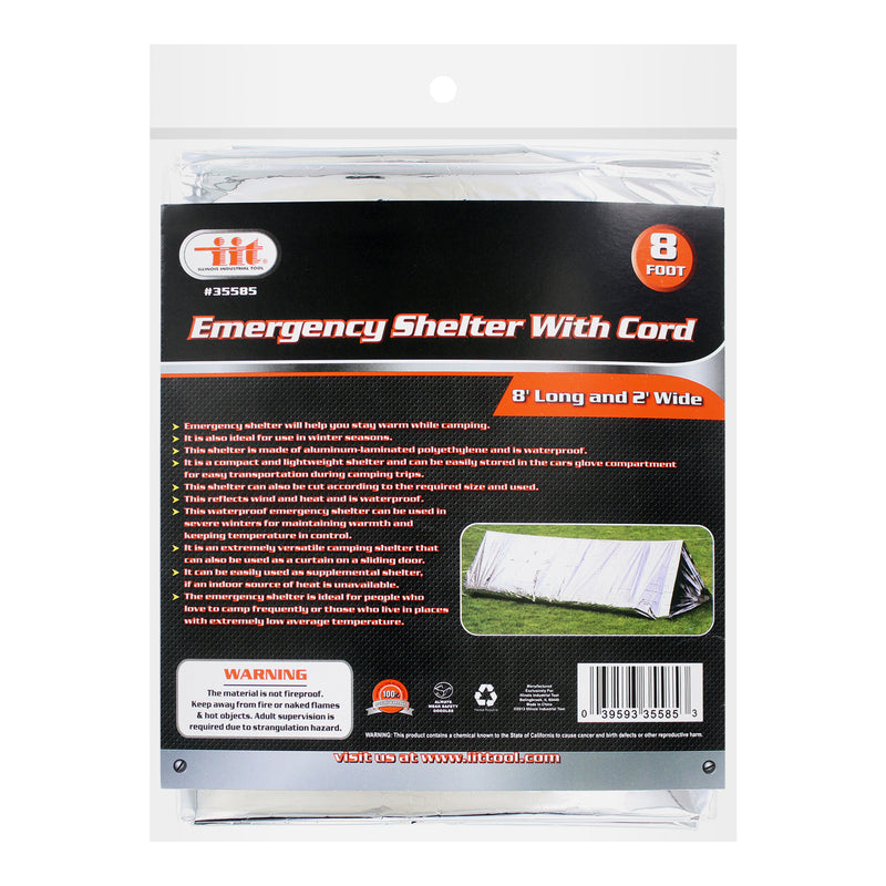 IIT Emergency Shelter with Cord, 8 Feet Long and 2 Feet Wide