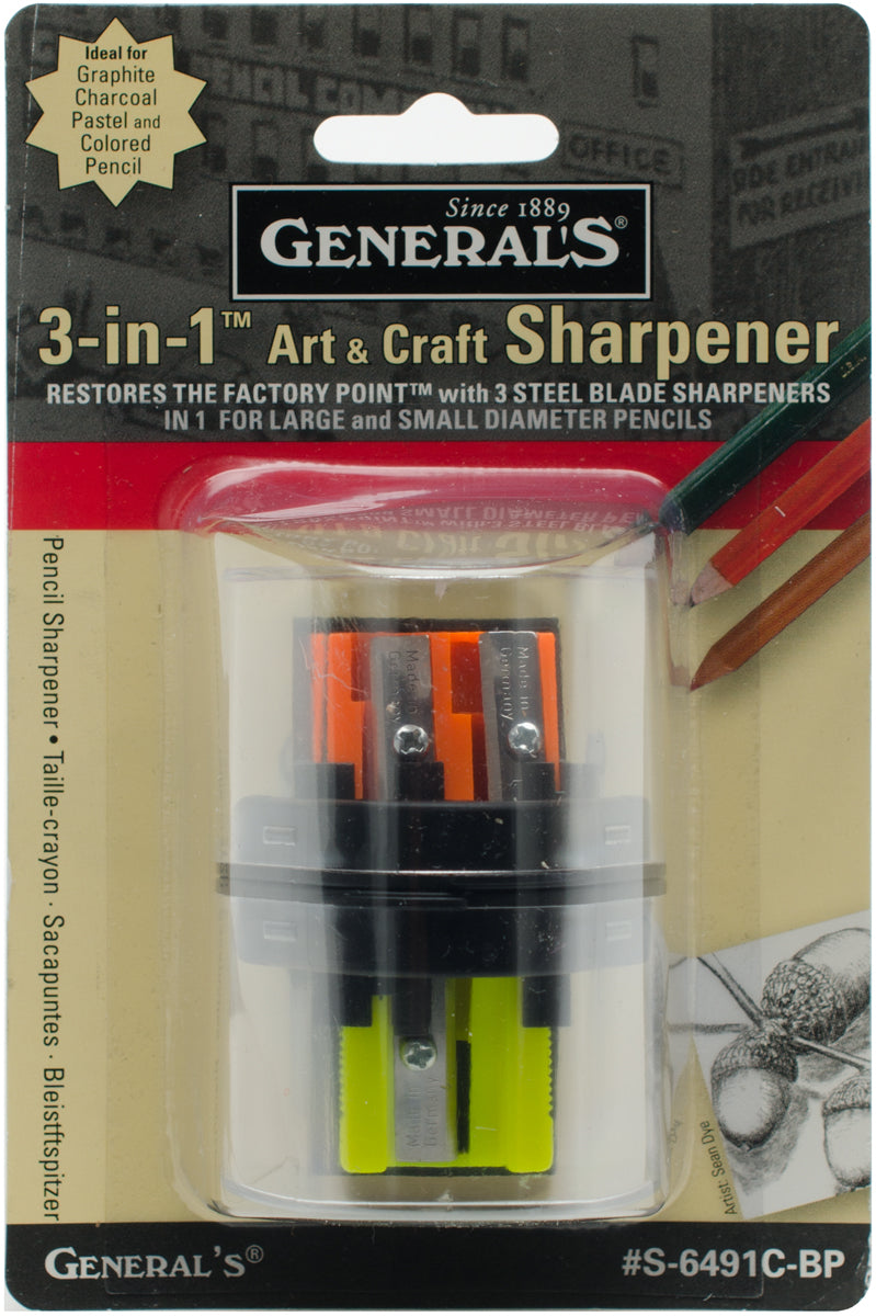 General Pencil 3-in-1 Art & Craft Sharpener- - Pens N More