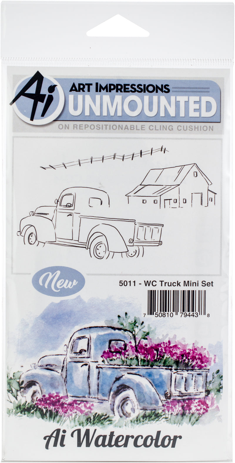 Art Impressions Watercolor Cling Rubber Stamps -Truck Mini Set - Pens N More