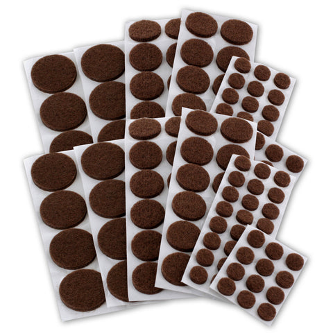 Junipers Assorted Furniture Felt Floor Protector Pads, Pack of 152 - Brown