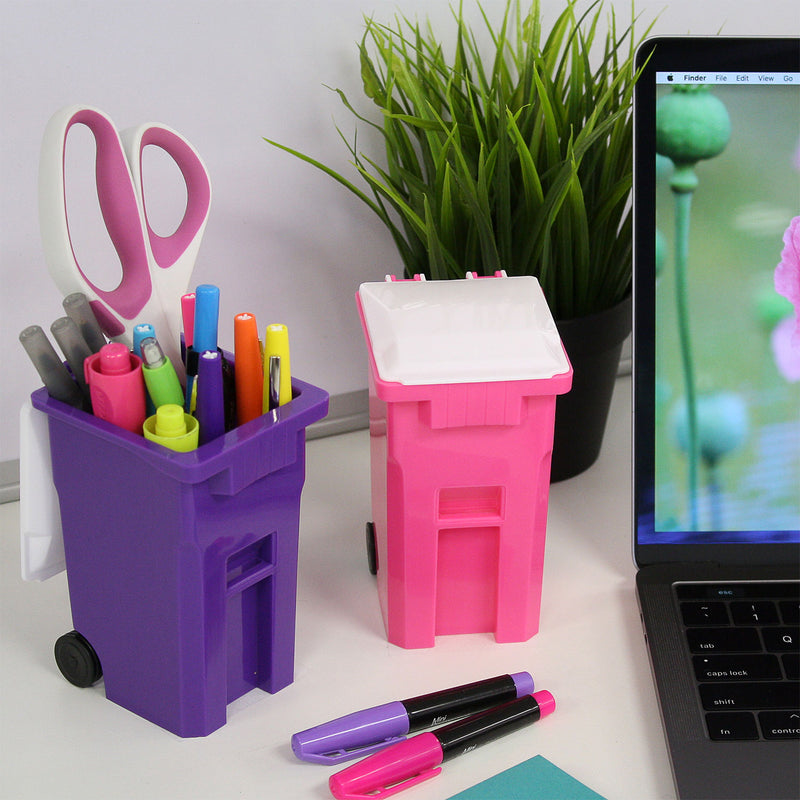 Thornton's Office Supplies Mini Curbside Trash and Recycle Can Set Pencil Cup Holder - Pink/Purple - Pens N More