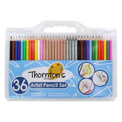 Thornton's Art Supply 36 Count Professional Hi-Quality Artist Colored Pencil Set with 12 Watercolor, 8 Graphite, 12 Colored & 4 Woodless Pencils