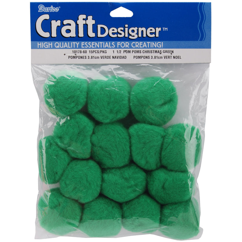 "Pom-Poms 1.5"" 15/Pkg-Kelly Green - Pens N More"