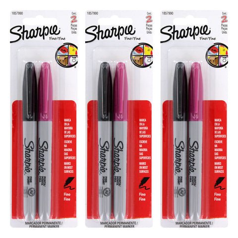 Sharpie Permanent Marker, Fine Point, Assorted Colors, 6-Count