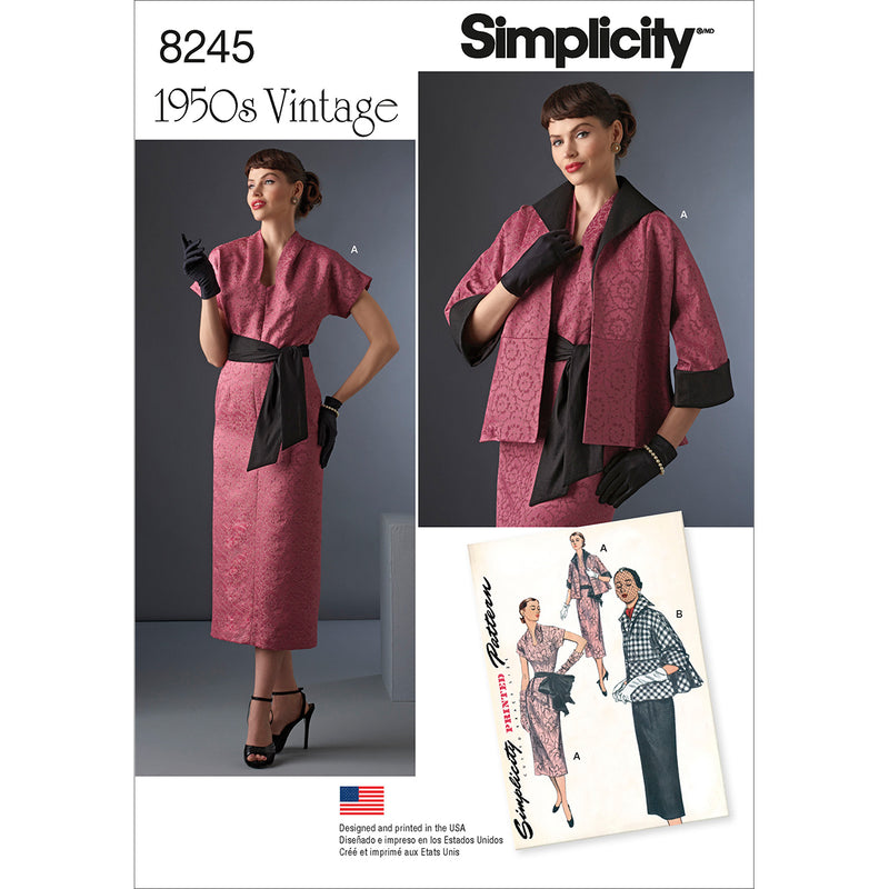 Simplicity Misses 1950S Vintage Dress Sash & Lined Jacket-14-16-18-20-22 - Pens N More