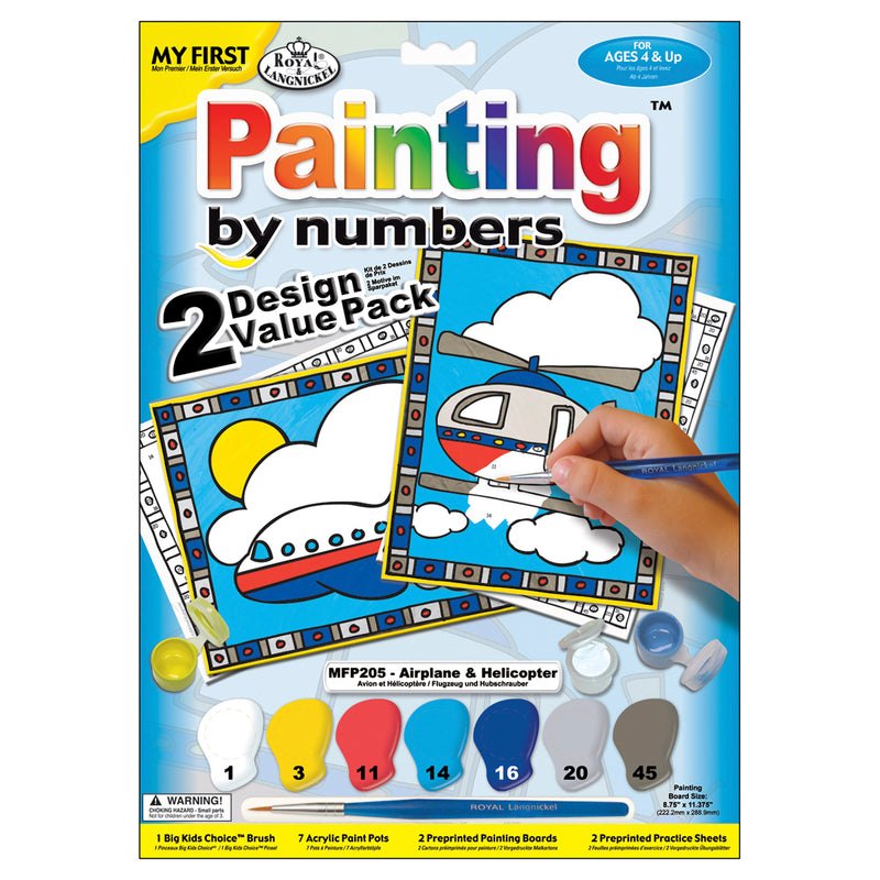 "My First Paint By Number Kit 8.75""X11.375"" 2/Pkg-Airplane & Helicopter"