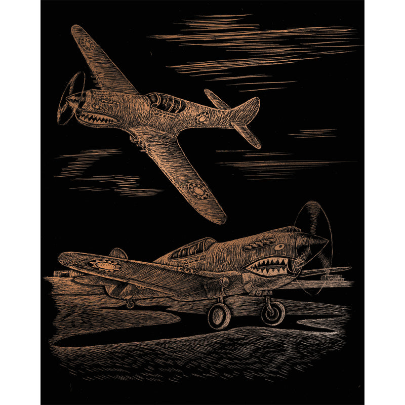 "Copper Foil Engraving Art Kit 8""X10""-WWII Fighter"