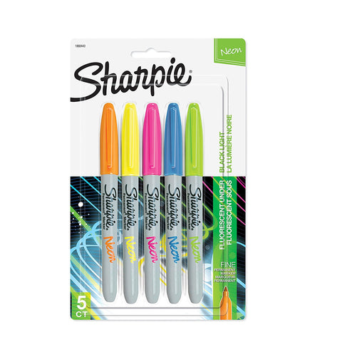 Sharpie Neon Permanent Markers, Fine Point, Assorted Colors, 5 Count