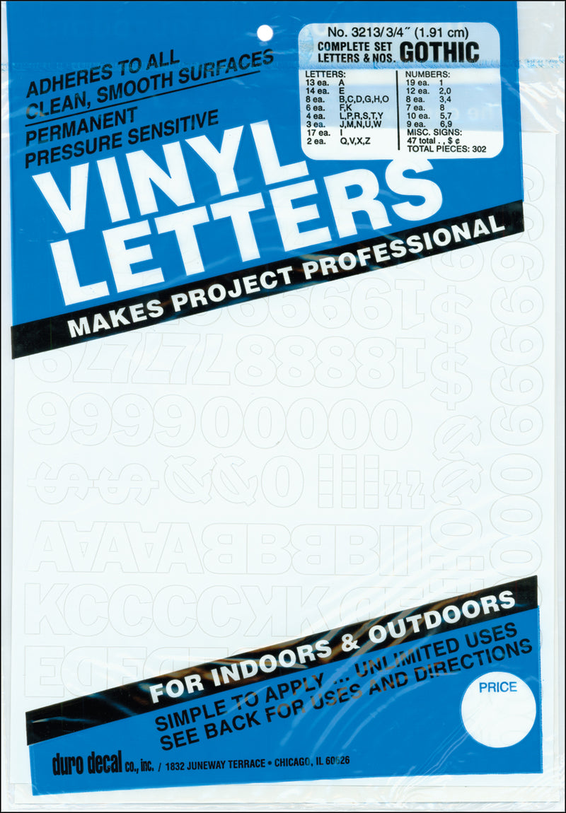 "Permanent Adhesive Vinyl Letters & Numbers .75"" 302/Pkg-White"