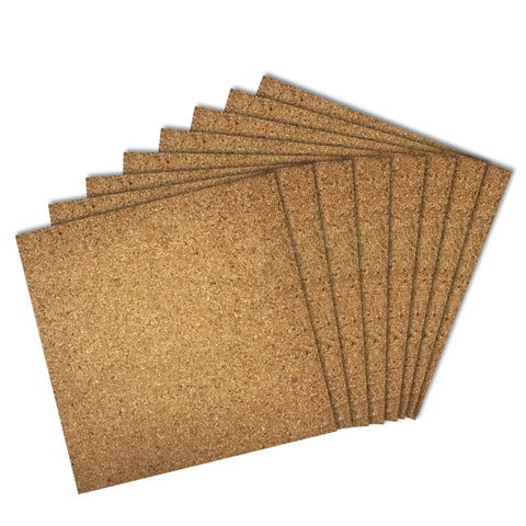 Thornton's Office Supplies Cork Tiles, Natural, 12 Inch x 12 Inch, Frameless, 8 Pack