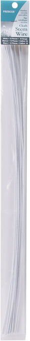 "Cloth Covered Stem Wire 18 Gauge 18"" 12/Pkg-White"