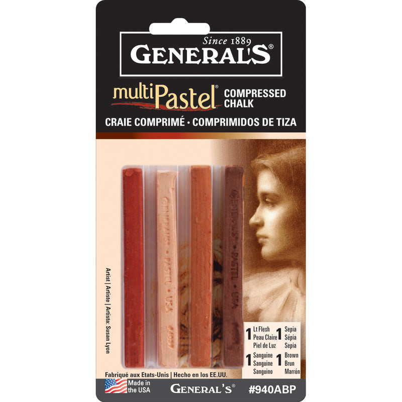 MultiPastel Compressed Chalk Sticks 4/Pkg-Earthtones - Pens N More