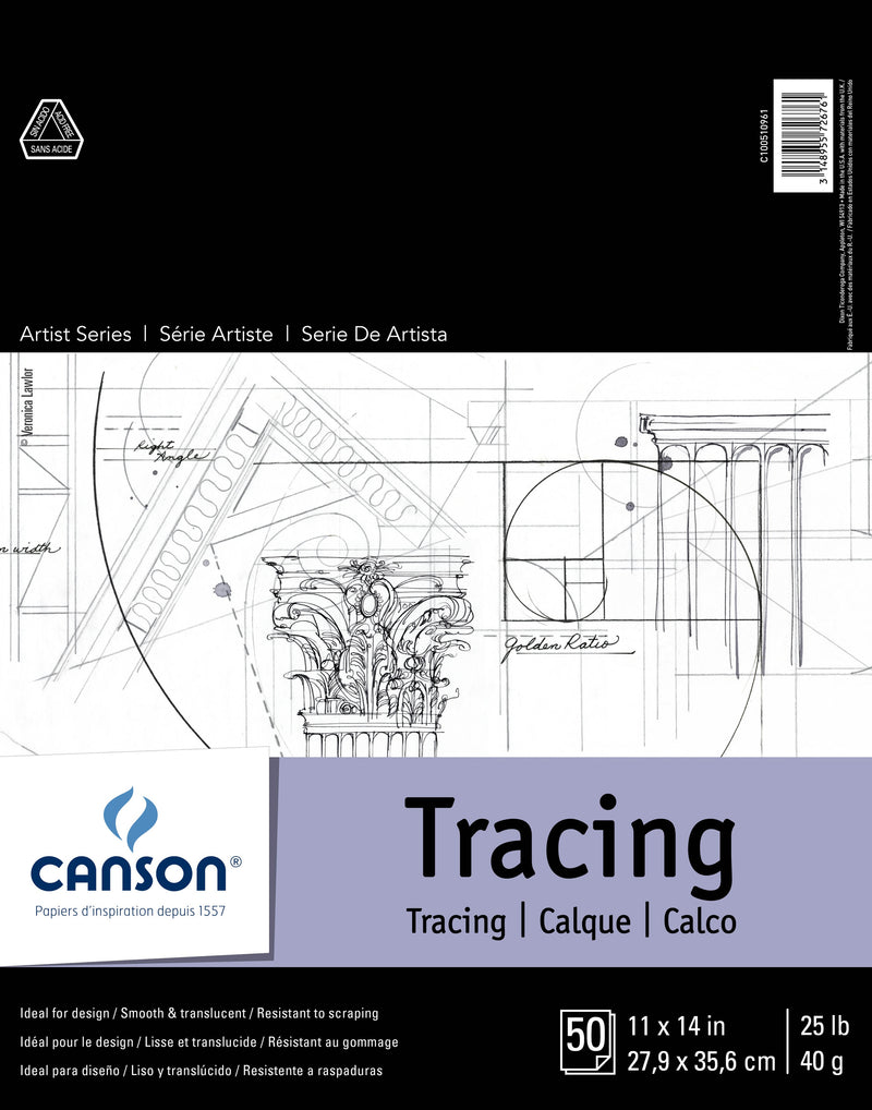 "Canson Artist Series Tracing Paper Pad 11""X14""-50 Sheets"